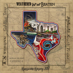 """10x10 print signed by the artist  """"Weathered, but not Beaten Texas"""" Hurricane Harvey 2017 By artist Stacey Uffman Blanchard   I created the original painting of """"Weathered, but not Beaten Texas"""" After watching the weather channel fearing that Louisiana may be struck again by flooding From Hurricane Harvey. It has only been one year since the Great Flood of 2016. Watching closely the storm decided to strike our neighboring state of Texas. I sat in awe as the storm went inland as a category 4 Storm. It devastated many Gulf Coast cities in its path. As it moved forward and leaving devastation behind it. The storm decided to sit over the huge city of Houston. Here we go again massive flooding and horrible memories of how the natives of Louisiana felt one year ago. Harvey drops nearly 50"""" of rain on a very populated city.  The floodwaters did not discriminate; it flooded young, old, newborn babies, dogs, cats, Cows and corporate businesses. The flames in the piece show that even with all the water houses still were at risk of   fire ,with water pressure being low it was almost impossible to put the fires out.  The storm moves back in to the Gulf and then strikes again. The horror of the Texan people brings uncertainty and fear. They were clinging to their loved ones and a few personal belongings not really knowing what they will have left after the wrath of Hurricane Harvey. The droplets of water are the many tears shed over the loss of homes and belongings that the people of Texas have worked all of their lives for.   The people of Louisiana having some knowledge of what to do after their own experience jumped into action. The Cajun Navy geared up unselfishly. They left their wives and jobs to get their boats ready to head to Texas. Forming caravans the Cajun Navy headed out. Every boat and truck loaded with donations from people that have still not recovered themselves from the Flood of 2016. We know the road is long to recovery. We love thy neighbor and if we could ma"""