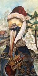 Pierre Pelican Santa print 8x16