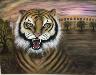 MIKE THE TIGER BY LANA LEBLANC 14X18 ON CANVAS