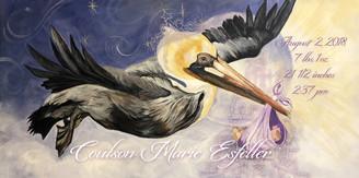 Pierre pelican stork custom print 6x12 paper print