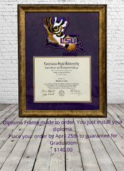LSU LOUISIANA DIPLOMA FRAME
