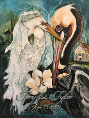 Going to the Chapel Egret Bride and Pelican Groom Print