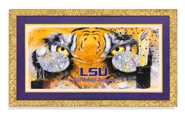 Framed with Gold frame, purple faux suede mat and golden under mat.