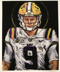Embellished JOE BURROW #9 PAPER GICLEE 24X30 by Jacob Zumo