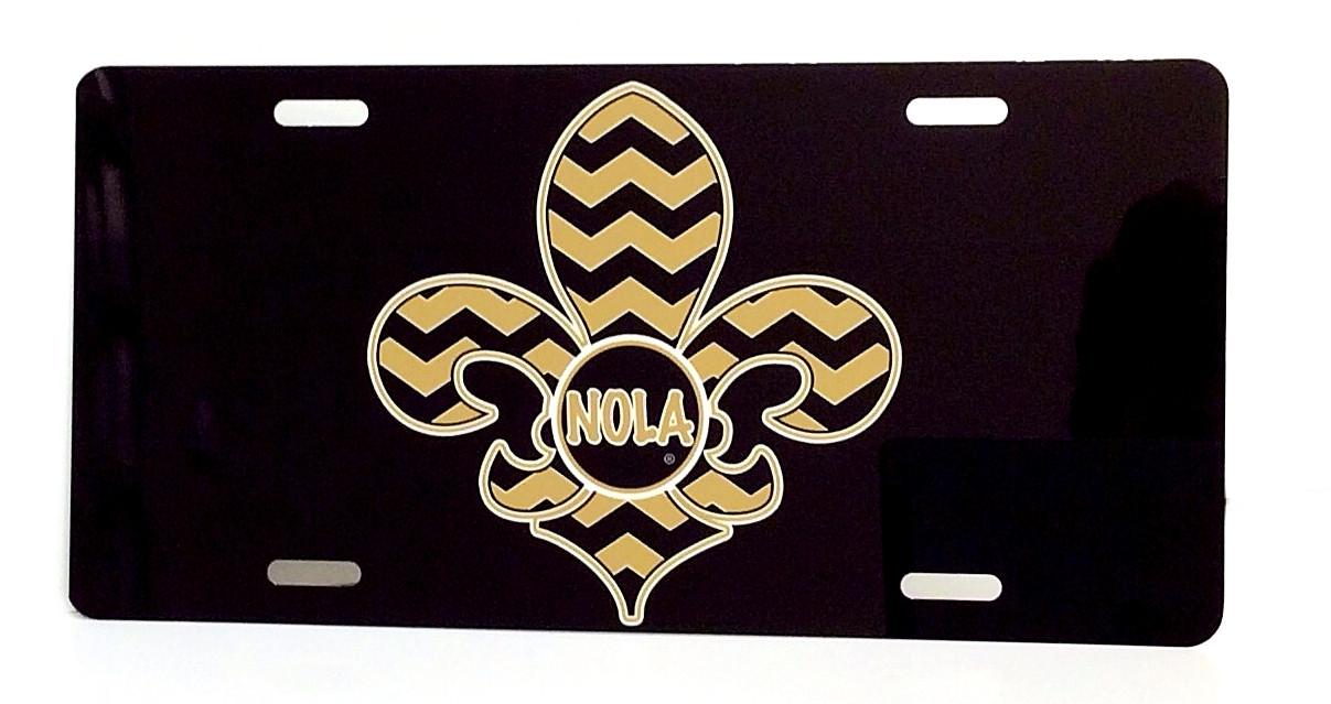 Nola Chevron Fleur De Lis License Plate Lagniappe Frame