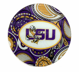 Tangled Tigre' LSU Paisley Round Cutting Board