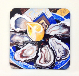 Oysters on the Half Shell Corkback Coaster Set