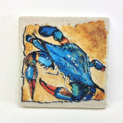 Blue Crab Sparkle Collection Marble Coaster Set