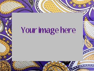 Custom Image on Purple and Gold Paisley Metal  8x12/12x16