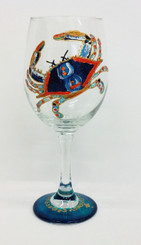 Blue Crab Wine Glass