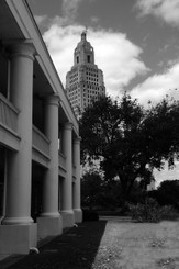 Louisiana State Capitol behind Army Barracks