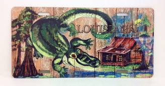 Swamp Alligator on Planks License Plate