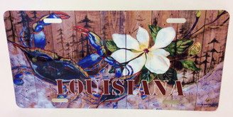 Louisiana Crab and Magnolia on Planks License Plate
