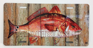 Red Fish on Planks License Plate