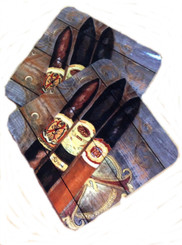 Cigars on Wood Planks Corkback Coaster Set