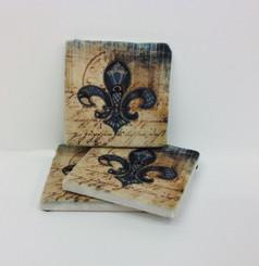 Blue Fleur de Lis Marble Coaster Set