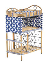 Madrid Wine Bar w/Removable Serving Tray Color - Navy & White (Star Pattern)