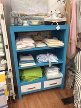 Bahama Blue with White Drawers and Nickel Pulls. In Stock in our Newport, RI store.
