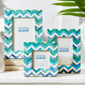 Blue Chevrons Bone Picture Frame