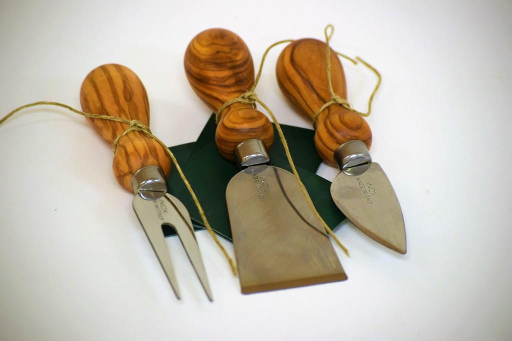 Olive Wood Cheese Server Utensil Set