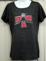 Pontiac Firebird wings down ladies glitter/rhinestone lace tee shirt