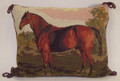 """Needlepoint Horse Pillow  SKU # A21-2201A  Brown cords adorn each end of this a lovely needlepoint pillow of a bay horse standing in a meadow against a backdrop of trees.  Needlepoint with solid green backing.  2 lbs.  16""""W x 12""""H x 3""""D"""