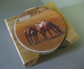 Three Running Horses in a Pasture Coaster Set and Wood Holder
