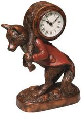 "Dapper Fox Clock  SKU # A21-1501A  Accent clock in fox motif for that special tabletop or desk.  5""W x 9""H x 3""D"