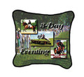 "Three Day Eventing Pillow  SKU # A19-1201A  Three Day Eventing is beautifully displayed on this colorful pillow. Made in the USA.   2 lb.  16"" W x 16"" H x 2.5"" D"