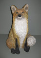"""Sweet Fox Statue  SKU # A17-2204A  This handsome fox statue, with its bright eyes and bushy tail, is at home indoors or out.    Resin.  7 lbs.  15""""H x 11"""" D"""
