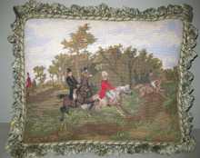 "Hunt Needle Point Pillow  SKU # A12-2001B  This needlepoint hunt scene pillow features four horses and riders in greens and browns with a blue cloudy sky.   Green and beige tassel fringe surrounds the entire pillow.  Embroidered front, forest green 100% cotton canvas back.    2 lbs.  16""W x 13""H x 4""D"