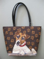"Needle Point Jack Russell Handbag  SKU # A11-1227A  Hand stitched in wool, this cute little guy displays the classic Jack Russell inquisitive head tilt.  Zippered closure top with zippered interior side pocket and open side pocket.  Base, back, and handles of the purse are black leather.  1 1/2 lbs.  15""W x 11""H x 3 1/2""D"