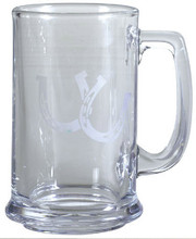 Satin Frosted Glass Beer Mugs - Set of 2  SKU # A14-2001A  If you love horses, you'll really enjoy a glass of beer in these stout satin frosted beer mugs featuring a set of horseshoes.  Glass.  Set of 2
