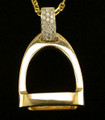 14Kt Yellow Gold Stirrup Diamond Pave Bail Necklace Pendant by Van Dell Jewelers  SKU # A18-1508G  This perfectly sized, beautiful 14Kt Stirrup attached to a diamond pave set (multiple small stones set very close together) band bail (allows a pendant to slide on a chain) creates a necklace pendant that is both stunning and elegantly simple.   A unique and pretty way to add equestrian flair to any outfit.   Beautiful with jeans or dressed up for a night out.