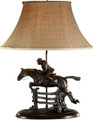 """Over The Jump Lady Lamp  SKU # A20-1804A  Show your love of jumping with this beautiful lady jumper lamp with linen shade.   3 way 100 watt max.  24""""H"""