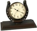 "Up Horseshoe Clock  SKU # A21-1504B  Time for good fortune with this horseshoe clock.  9""W x 7""H x 4""D"