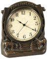 "Time For Luck Clock  SKU # A21-1504A  ""Time for Luck"" horseshoe and horses clock.  6""W x 7""H x 2.75""D"