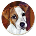 "Jack Russell Coaster Set  SKU # A14-1602E  Adorable Jack Russell coasters remind us of how innocent these little guys are no matter what they have done while protecting your good furniture from water stains.  Boxed set of 4.  1 1/2 lbs  4 1/4""W x 5""H x 2 1/2""D"