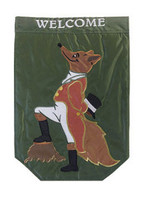 """Garden Flag - """"Sir Fox""""  SKU # A17-2206A  Let dapper """"Sir Fox"""" welcome your guests in style.  Embroidered and appliqued.  Garden Flag Stake sold separately.   13"""" x 18"""""""