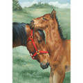 "Garden Flag - Mother Horse Nuzzling Colt  SKU # A17-2206C  Beautiful garden flag of a mare nuzzling her colt.  Garden Flag Stake sold separately.   12"" x 18"""