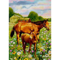 "Garden Flag - ""Two Of A Kind""  SKU # A17-2206E  Beautiful garden flag of a mare and her foal.   Garden Flag Stake sold separately.   12"" x 18"""