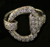 14KT White Gold or Yellow Gold Snaffle Bit Full Diamond Face Ring