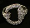 14KT White Gold or Yellow Gold Snaffle Bit Full Diamond Face Ring