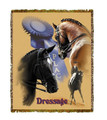 "Dressage Throw  SKU # A19-1401C  Dressage is beautifully displayed on this stunning throw.   100% cotton tapestry afghan.  Machine washable.  Made in the USA.  2.5 lbs.  60""L x 48""W"