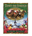 "Down The Stretch Throw  SKU # A19-1401B  Racing horses are beautifully displayed above the crowd, steeple and song ""My Old Kentucky Home"" on this colorful throw.   100% cotton tapestry afghan.  Machine washable.  Made in the USA.  2.5 lbs.  60""L x 48""W"