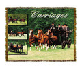 "Horse Carriages Throw  SKU # A19-1401E  Horse Carriages are beautifully displayed on this stunning throw.   100% cotton tapestry afghan.  Machine washable.  Made in the USA.  2.5 lbs.  60""L x 48""W"