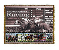 "Racing Throw  SKU # A19-1401J  Race horses and Jockeys are beautifully displayed on this stunning throw.   100% cotton tapestry afghan.  Machine washable.  Made in the USA.  2.5 lbs.  60""L x 48""W"