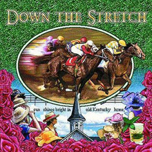 """Down The Stretch Tote  SKU # A11-1208L  Race horse and jockeys are beautifully displayed on this colorful tote.  Machine washable tote made in the USA.  1.5 lb.  17""""W x 11""""H x .15""""D"""
