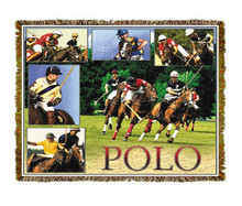 """Polo Throw  SKU # A19-1401R  Polo players and ponies in play are beautifully displayed on this stunning throw.   100% cotton tapestry afghan.  Machine washable.  Made in the USA.  2.5 lbs.  60""""L x 48""""W"""