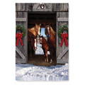 Christmas Barn Garden Flag